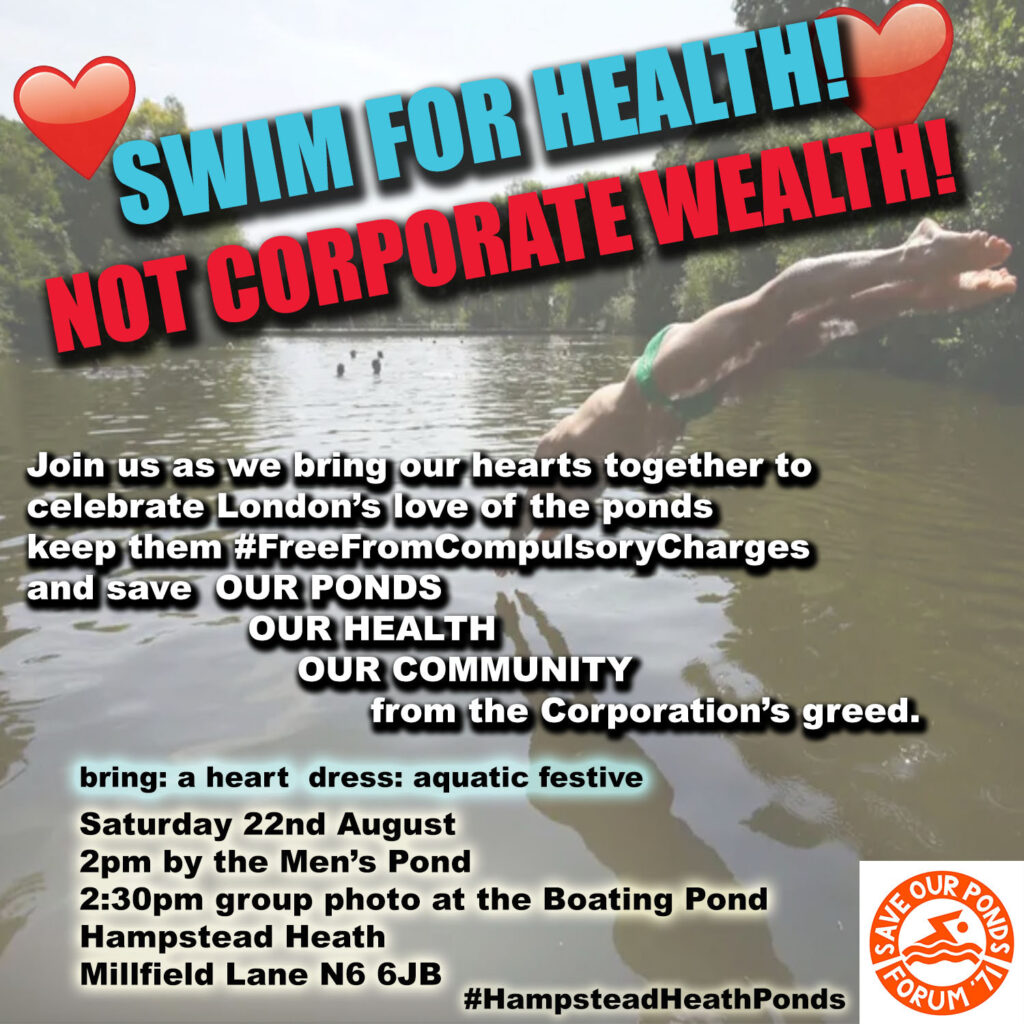 Aug 22nd 2020 protest against compulsory bathing charges at Hampstead Heath